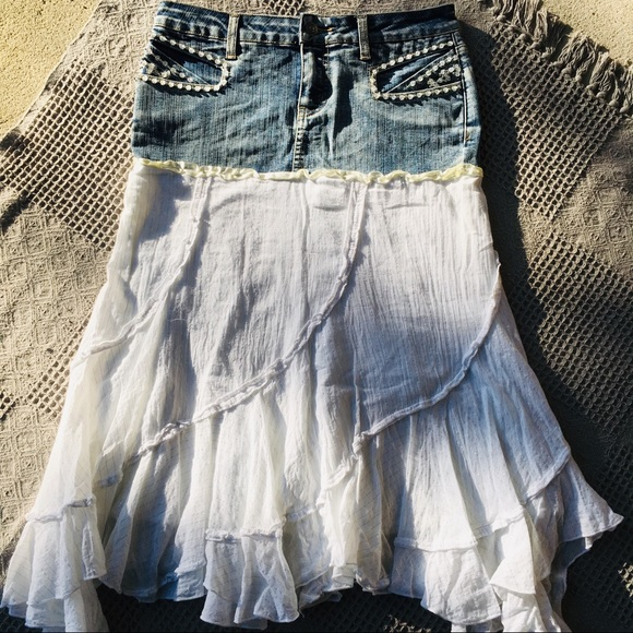 Candie's Dresses & Skirts - Candie's Western Festival Jean & White Cloth Skirt